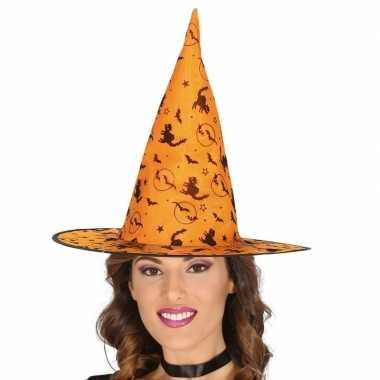 Oranje heksen hoed met zwarte kat print voor dames