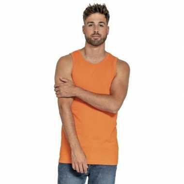 Oranje heren tanktop/singlet basic hemden