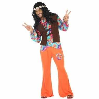 Oranje hippie kostuum met cirkels voor heren