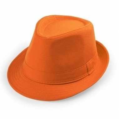 Oranje hoedje trilby model voor volwassenen