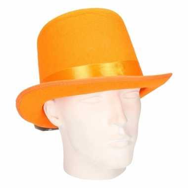 Oranje hoge hoed van vilt met gouden lint