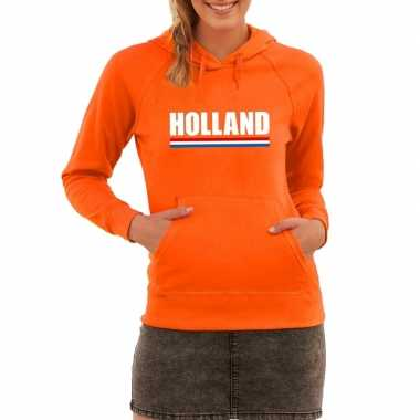 Oranje holland supporter hooded sweater dames