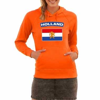 Oranje holland vlag hooded sweater dames