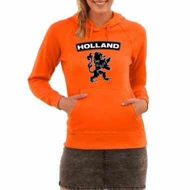 Oranje hooded sweater holland leeuw voor dames