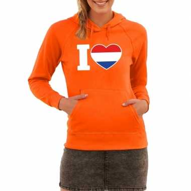 Oranje i love holland hooded sweater dames