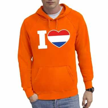 Oranje i love holland hooded sweater heren