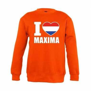 Oranje i love maxima trui jongens en meisjes