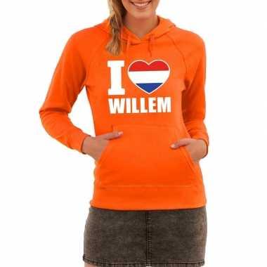 Oranje i love willem hooded sweater dames