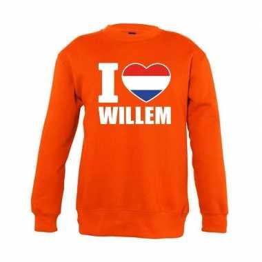 Oranje i love willem trui jongens en meisjes