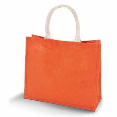 Oranje jute shopper/boodschappentas 42 cm