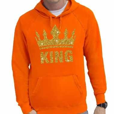 Oranje king gouden kroon hoodie heren