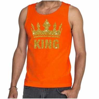 Oranje king gouden kroon mouwloos shirt heren