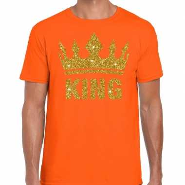 Oranje king gouden kroon t-shirt heren