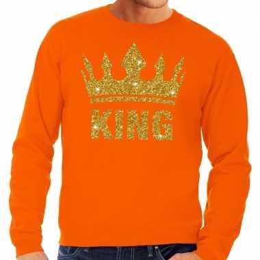 Oranje king gouden kroon trui heren
