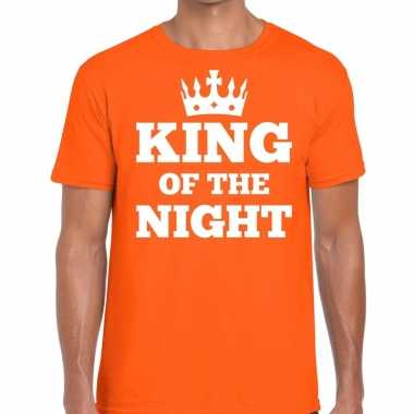Oranje king of the night t-shirt met kroontje heren
