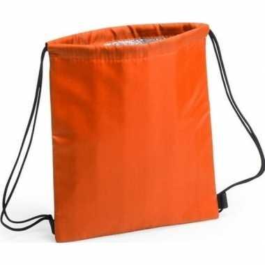 Oranje koeltas rugzak/gymtas 27 x 33 cm met drawstring/rijgkoord