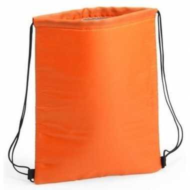 Oranje koeltas rugzak/gymtas 32 x 42 cm met drawstring/rijgkoord