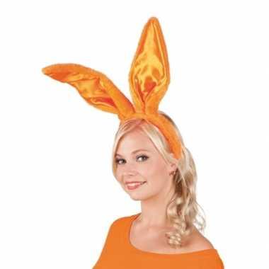 Oranje konijnen hazen oren op diadeem voor volwassenen