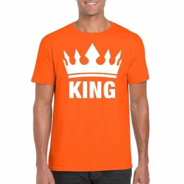 Oranje koningdag king shirt met kroon heren