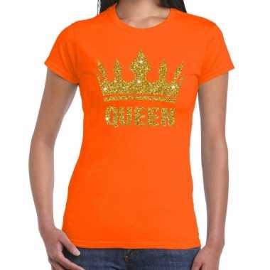 Oranje koningdag queen shirt met gouden glitters en kroon dames