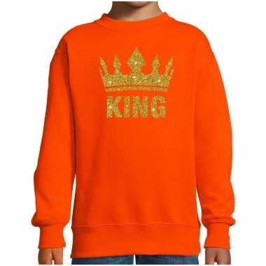 Oranje koningsdag gouden king trui kinderen