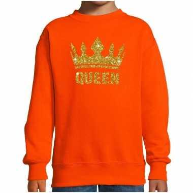 Oranje koningsdag gouden queen trui kinderen