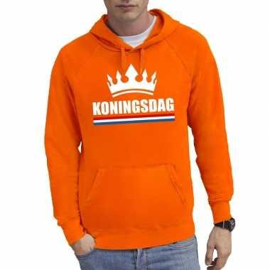Oranje koningsdag met een kroon hooded sweater heren