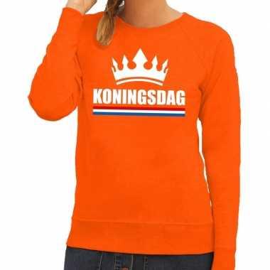 Oranje koningsdag met een kroon trui dames