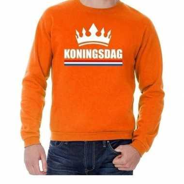 Oranje koningsdag met een kroon trui heren en dames