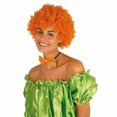 Oranje krullen clownspruik verkleed accessoire