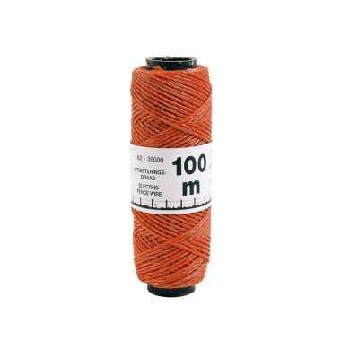 Oranje kunststof schrikdraad 2 mm 12 pe 100 meter