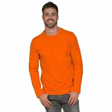Oranje lange mouwen shirt voor heren
