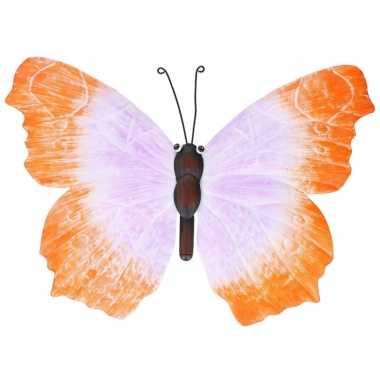 Oranje/lila tuindecoratie vlinder 40 cm