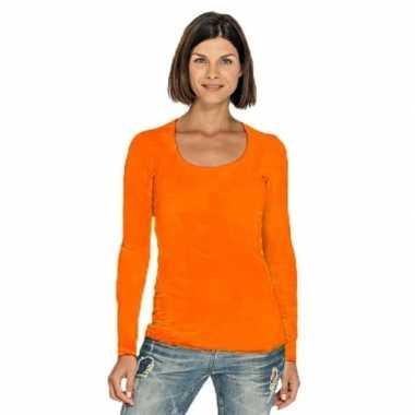 Oranje longsleeve shirt met ronde hals voor dames