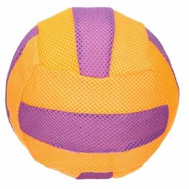Oranje met paars mesh speelgoed bal voor kinderen 23 cm