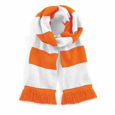 Oranje met witte sjaal 182 cm