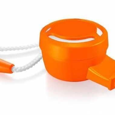 Oranje mini toeter met koordje