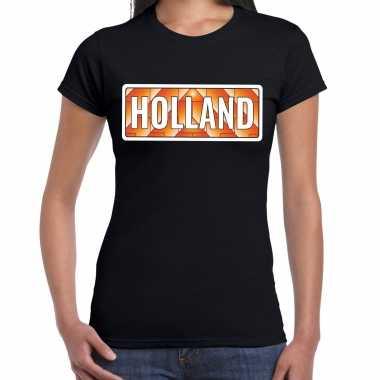 Oranje / nederlands elftal supporter t-shirt zwart voor dames