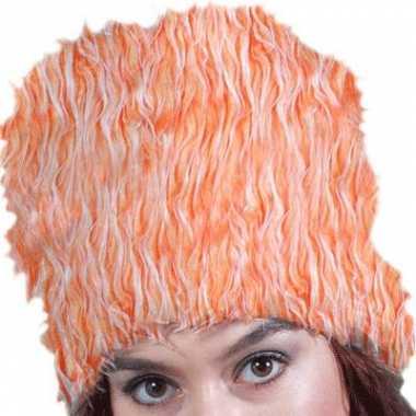 Oranje nepbont muts
