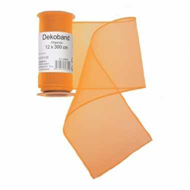 Oranje organza stof 12 x 300 cm