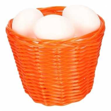 Oranje paasmandje met plastic eieren 14cm