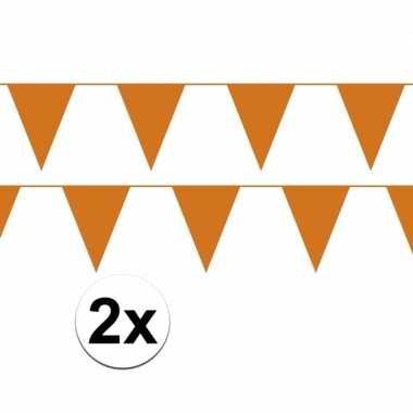Oranje plastic slingers 20 meter