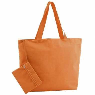 Oranje polyester shopper/boodschappen tas met rits 47 cm