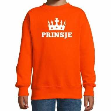 Oranje prinsje met kroon sweater jongens