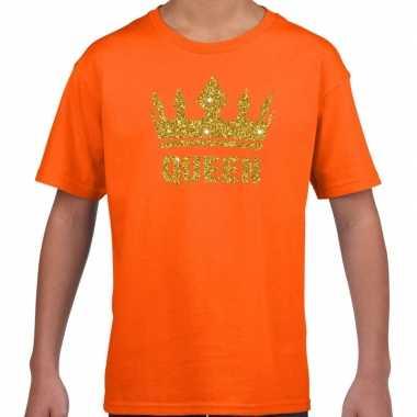 Oranje queen gouden kroon t-shirt kinderen