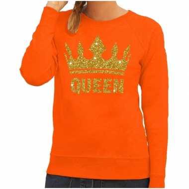 Oranje queen gouden kroon trui dames
