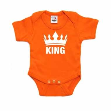 Oranje rompertje met kroon king voor babies