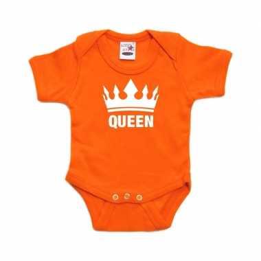 Oranje rompertje met kroon queen voor babies