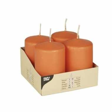 Oranje ronde kaarsjes 8 cm