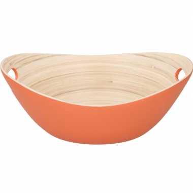 Oranje serveer schaal van bamboe 27 cm